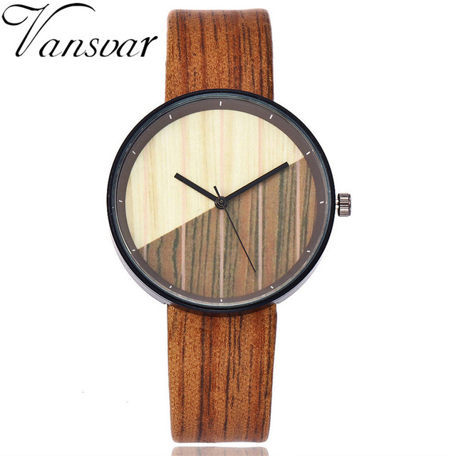 Vansvar women's luxury brand quartz, wood grain, wristwatches