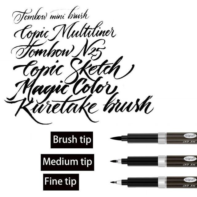 3pcs Calligraphy Pen Set Fine Liner tip Medium Brush Pens for Signature Drawing Hand Lettering School Album Art Supplies A6867 2