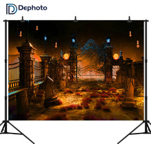 Dephoto Photographic Background Halloween Night European Door Stars Sky Pumpkin Lamp Professional Backdrop Photobooth Photocall