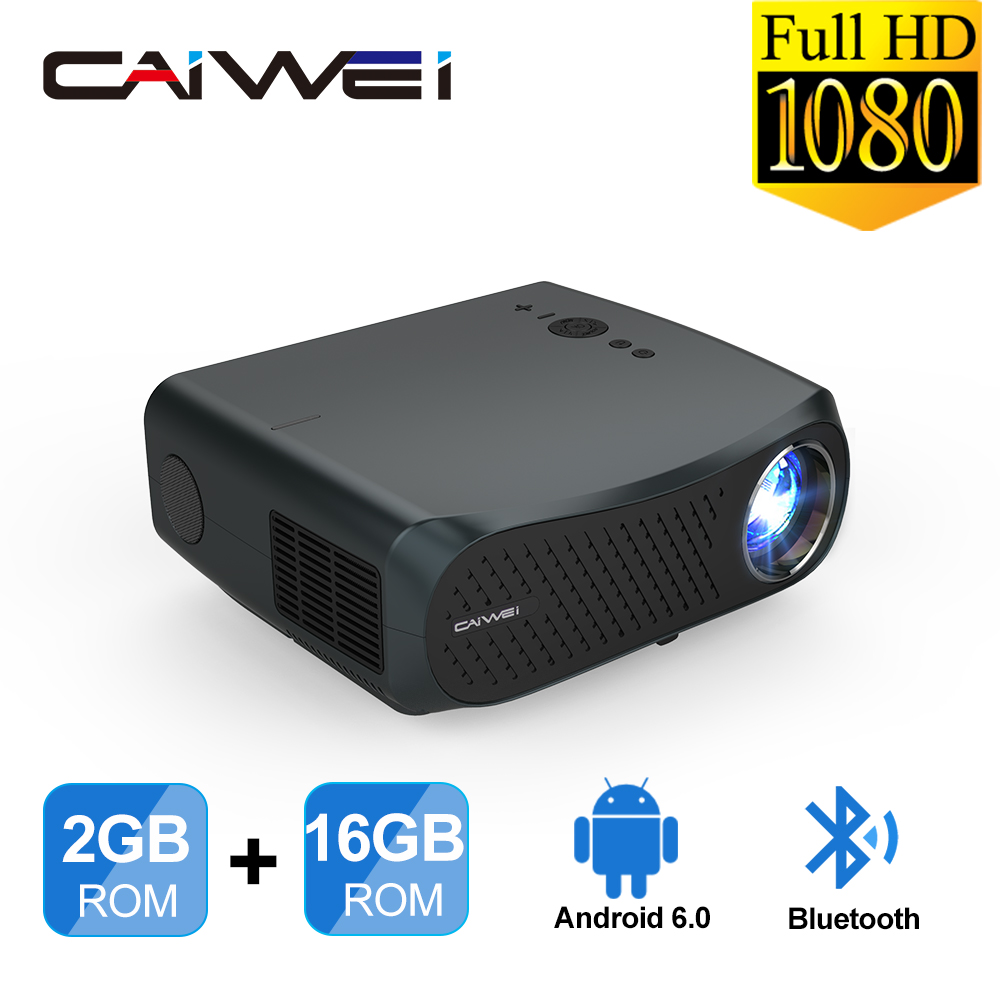 Caiwei a12 hd completo cinema em casa android 6.0 bluetooth 1920*1080 p lcd 4k wifiprojector 10000: 1 relação led cinema smartphone beamer