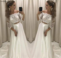 New Designed Two Pieces Wedding Dress Princess Lace Top Off Shoulder Long Country Style Reception Bridal Gown Custom Made