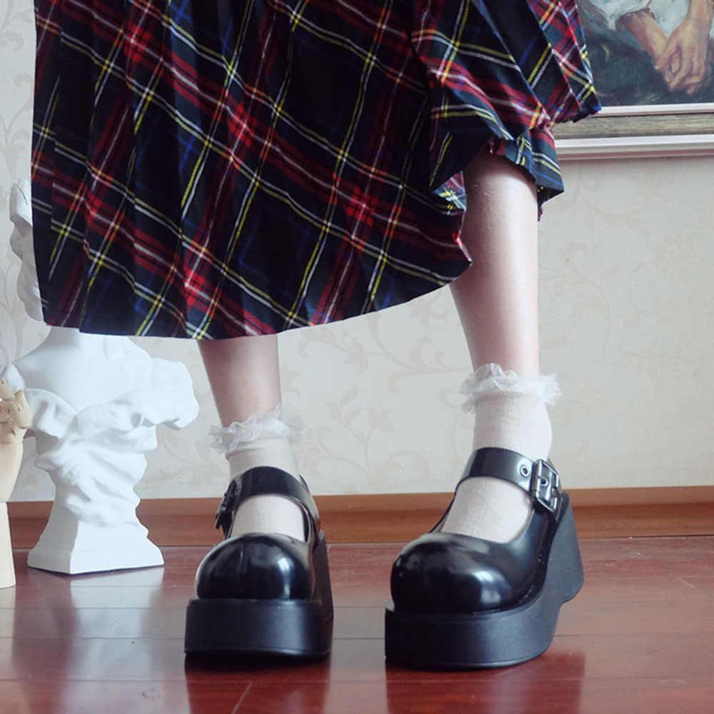 Gothic Bông Tai Kẹp Đầu Lớn Giày Búp Bê Vintage Retro Muffin Nền Tảng Máy Bơm Lolita Bé Gái Nữ Cô Gái Giày Cao Hoạt Động Đường Phố