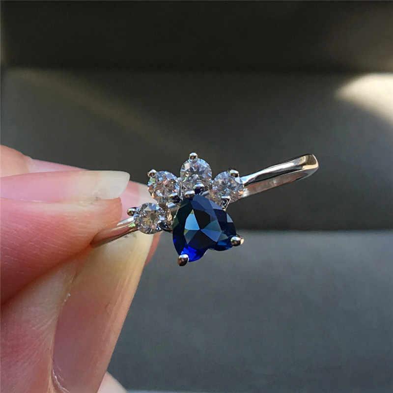 Милый женский зеленый синий пурпурный циркон сердце кольцо Мода серебро собака кошка Медведь лапа коготь кольцо милые Свадебные обручальные кольца для женщин