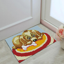 Square Latch Hook Kit for Beginners Handmade Cushion Carpet Mat, 58x40cm, Cute Dog Pattern(China)