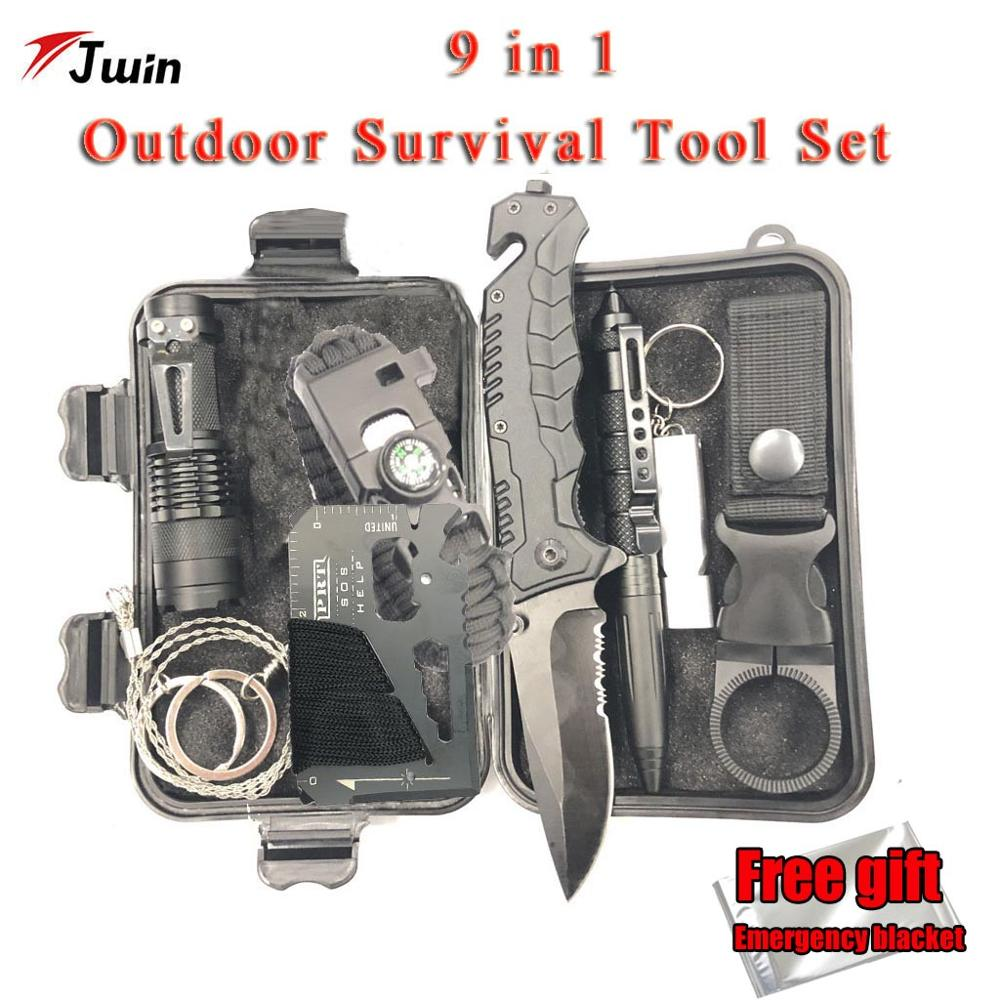Survival Kit Set 9 in 1 Military Outdoor Tourism Multifunction First aid SOS EDC Emergency Camping Tool Survival Kit Knife(China)