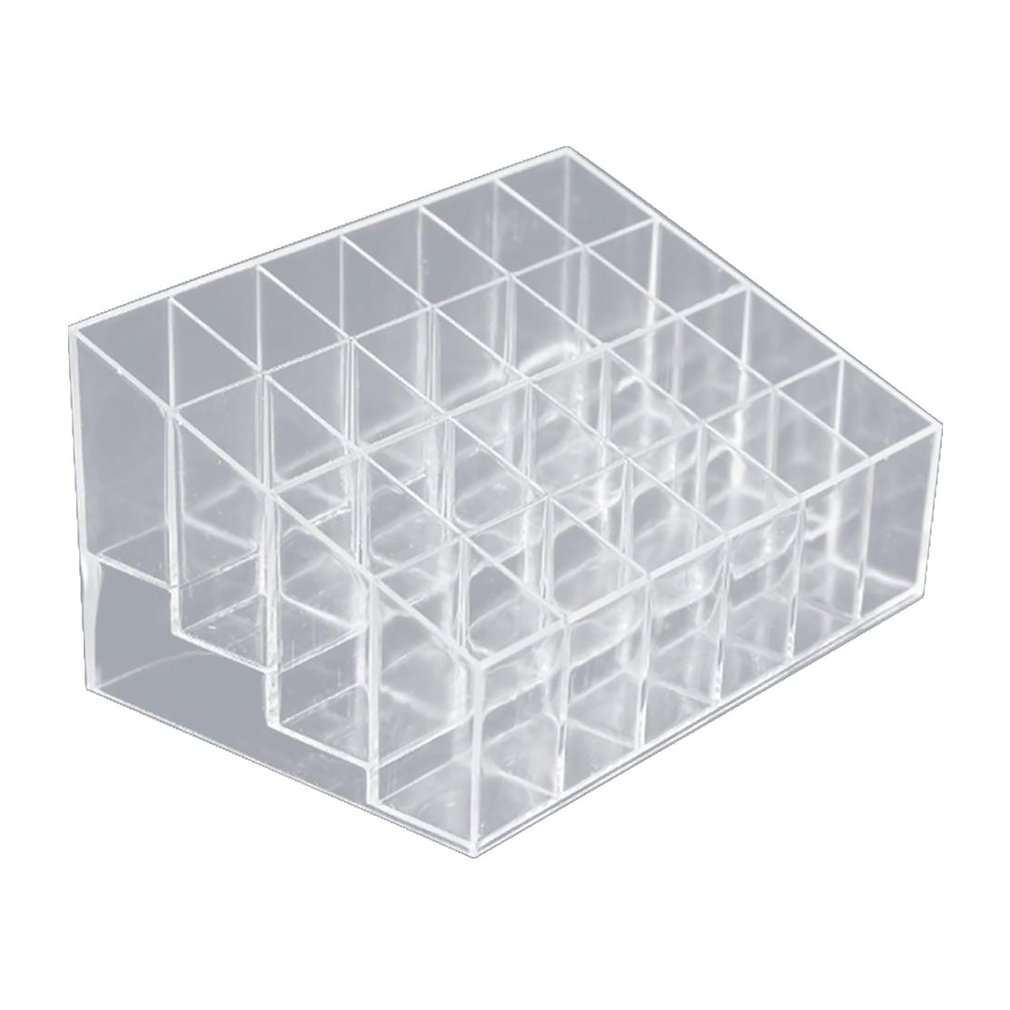 24 Grid Acrylic Transparent Makeup Organizer Storage Boxes Make Up Organizer Lipstick Holder Jewelry Box Holder Display