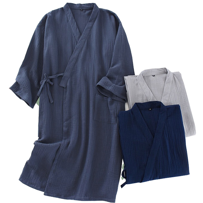 2020 Spring And Autumn New Men Night Robes  Comfort Loose Kimono Sleepwear Crepe Cotton Solid Color Homewear Cardigan For Men