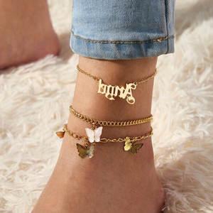 Chain Foot-Jewelry Ankle-Bracelet Letter Gold-Color Women Femme 3pcs/Set