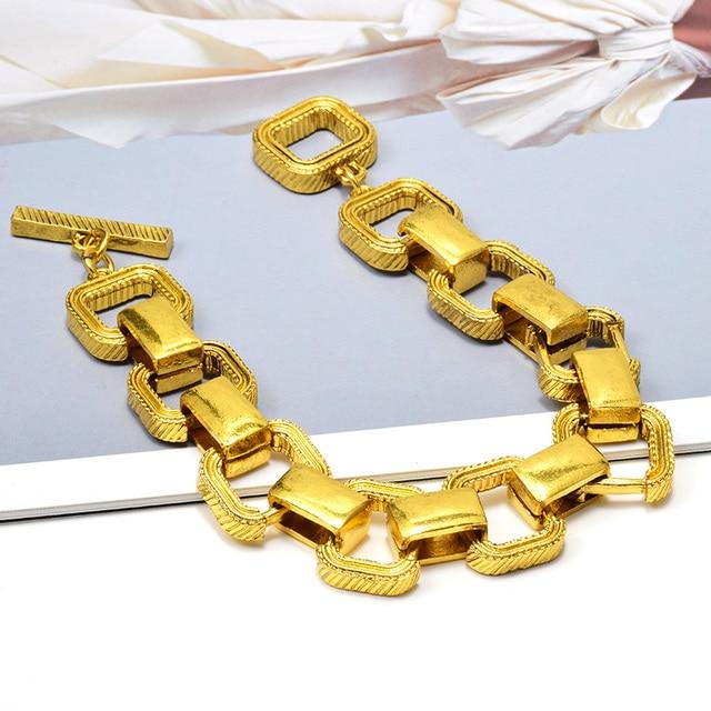 Statement Gold Metal Square Trend Bracelet 2