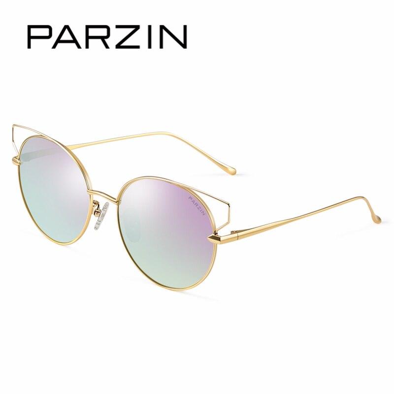 Parzin marca designer óculos de sol das mulheres alta qualidade grande frame da liga do vintage polarizado óculos de sol para acessórios motorista 8157 - 3