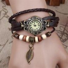 Feminino menina do vintage relógios pulseira relógios de pulso folha pingente pulseira de couro senhora feminino relógio de pulso presente