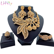 New Nigeria Gold Jewelry Sets Big Chunky Life Leave Dubai Necklace Earrings Bridal Jewellery Set Wedding