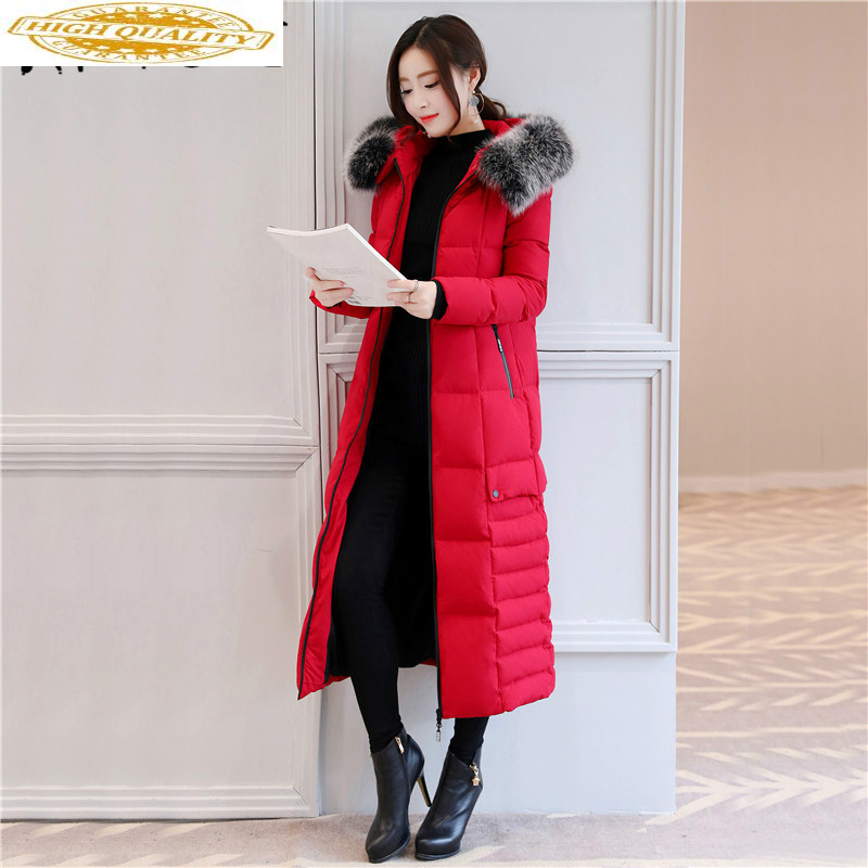 Winter Coat Female Fashion Thick Women's Down Jacket + Real Fox Fur Collar Red Slim Long Warm Duck Donw Jackets 18190