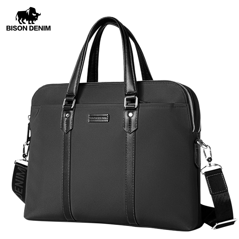 BISON DENIM Fashion Male Bag Luxury Fabric Handbag 14 Inches Laptop Business Bag Men Messenger Bag Travel Crossbody Bag N2835