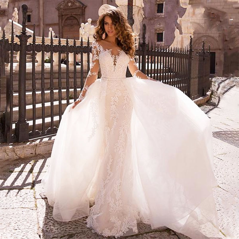 Long Sleeve Mermaid Wedding Dress 2019 V-Neck Lace Appliques Wedding Dresses With Detachable Train Luxury Bridal Gown