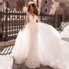 Long Sleeve Mermaid Wedding Dress 2019 V-Neck Lace Appliques wedding dresses With Detachable Train Luxury Bridal Gown