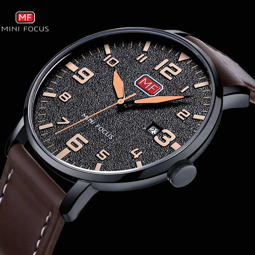 Mini Focus Sport Casual Quartz Horloge Mannen Bruin Lederen Band Arabisch Aantal Kalender Waterdicht Heren Horloges Topmerk Luxe