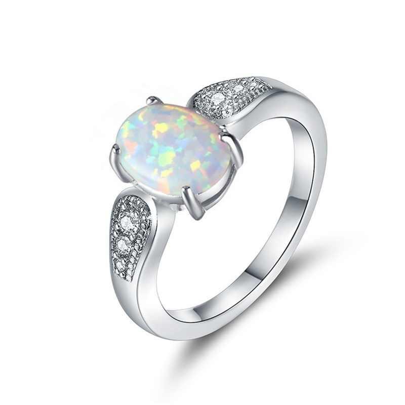 ประณีตรูปไข่สีขาวเลียนแบบโอปอลแหวนแฟชั่น Rhinestones แหวนสำหรับผู้หญิงอุปกรณ์เสริมเครื่องประดับงานแต่งงานของขวัญ
