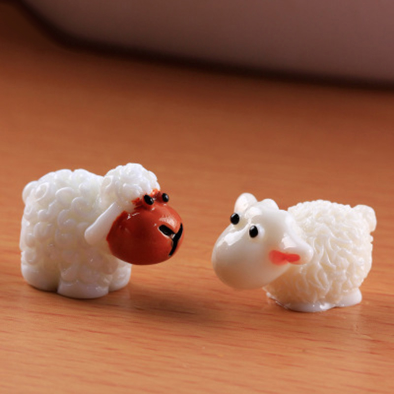 White Red Sheep Goat Small Statue Figurine Resin Home Garden Ornament Play House Lamb Crafts Goat Farm Decoration