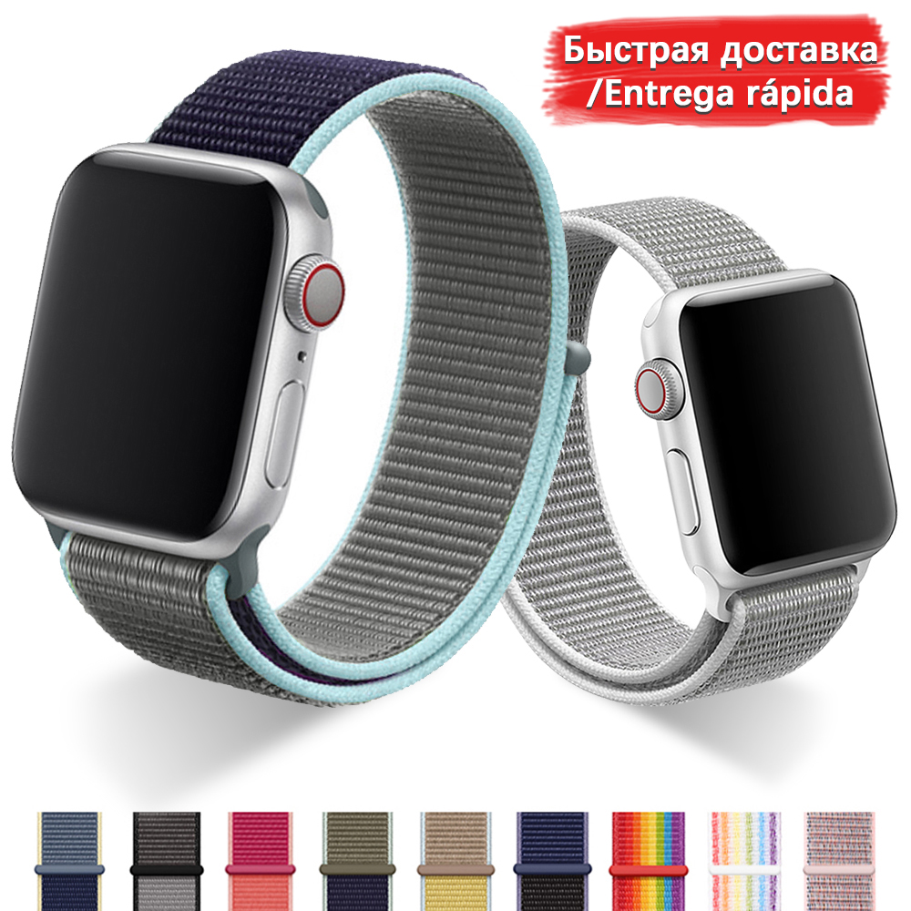 Band For Apple Watch Series 5 4 3 2 1 38MM 42MM watchband Breathable Nylon Strap Sport Loop for iwatch Bracelet 40MM 44MM|Watchbands| |  - title=