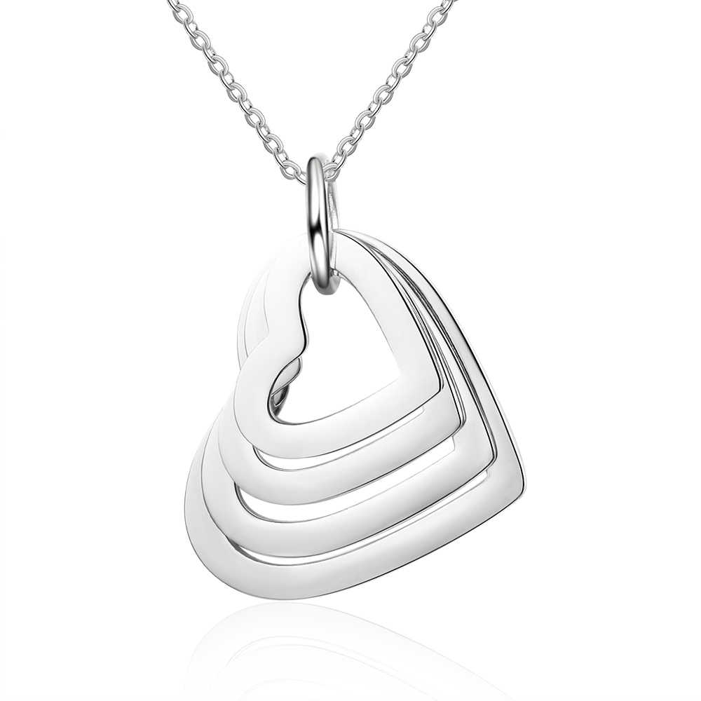 Personalized Interlocking Heart Pendant Necklace Stainless Steel Engraved 4 Names Necklaces for Women Mom