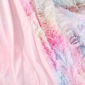 Image 5 - XC USHIO سوبر لينة طويلة فو الفراء المرجان الصوف بطانية دافئة أنيقة مريحة مع رقيق شيربا رمي بطانية أريكة تتحول لسرير البطانيات هدية
