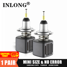 С чипом SAMSUNG, 2 шт., D1S, H7, светодиодные лампы H11 led лампы для авто, светодиодная лампа H4 9005 9006, D2S, D4S, D3S, 5500k, 6500K, автомобильные фары, противотуманны...