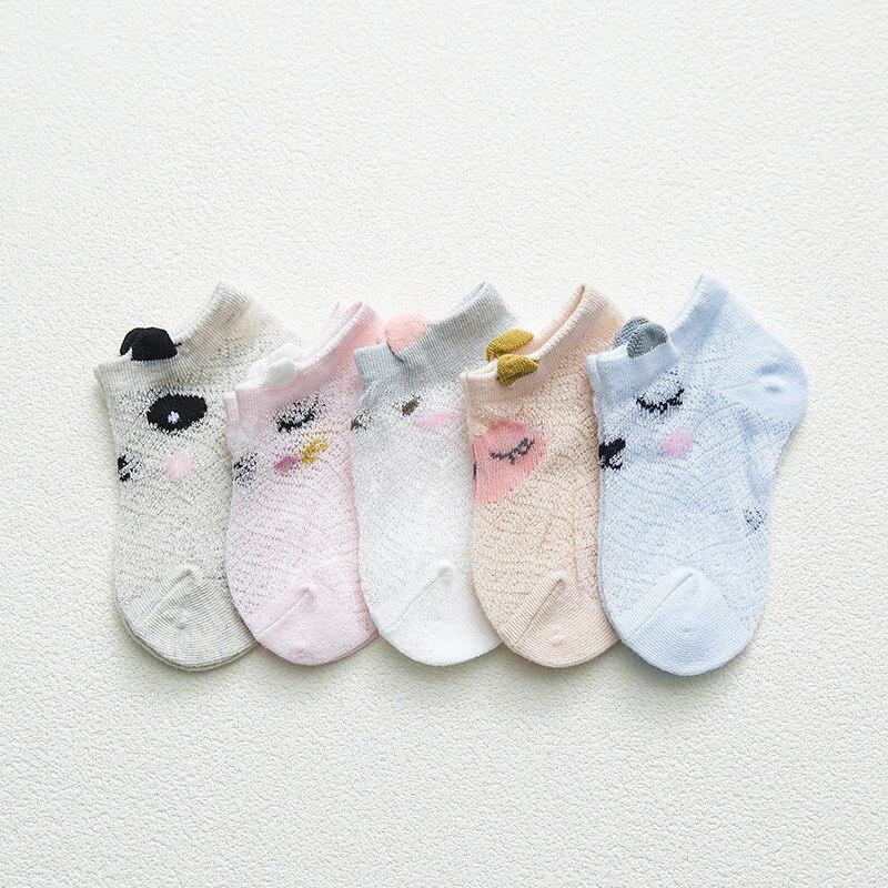 5 Pairs/lot 0 to 7 Years Spring Summer Thin Mesh Socks For Girls Boys Cute Animal Children's Thin Sock Baby Newborn Short Socks 6