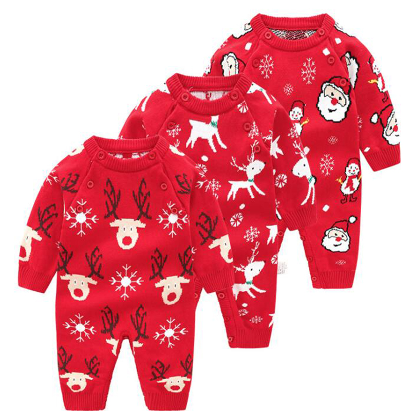 Christmas Toddler Baby Boy Cartoon Elk Jumpsuit Newborn Girl Clothes Long Sleeve Knitted Autumn Winter Warm Jumpsuit Clothes