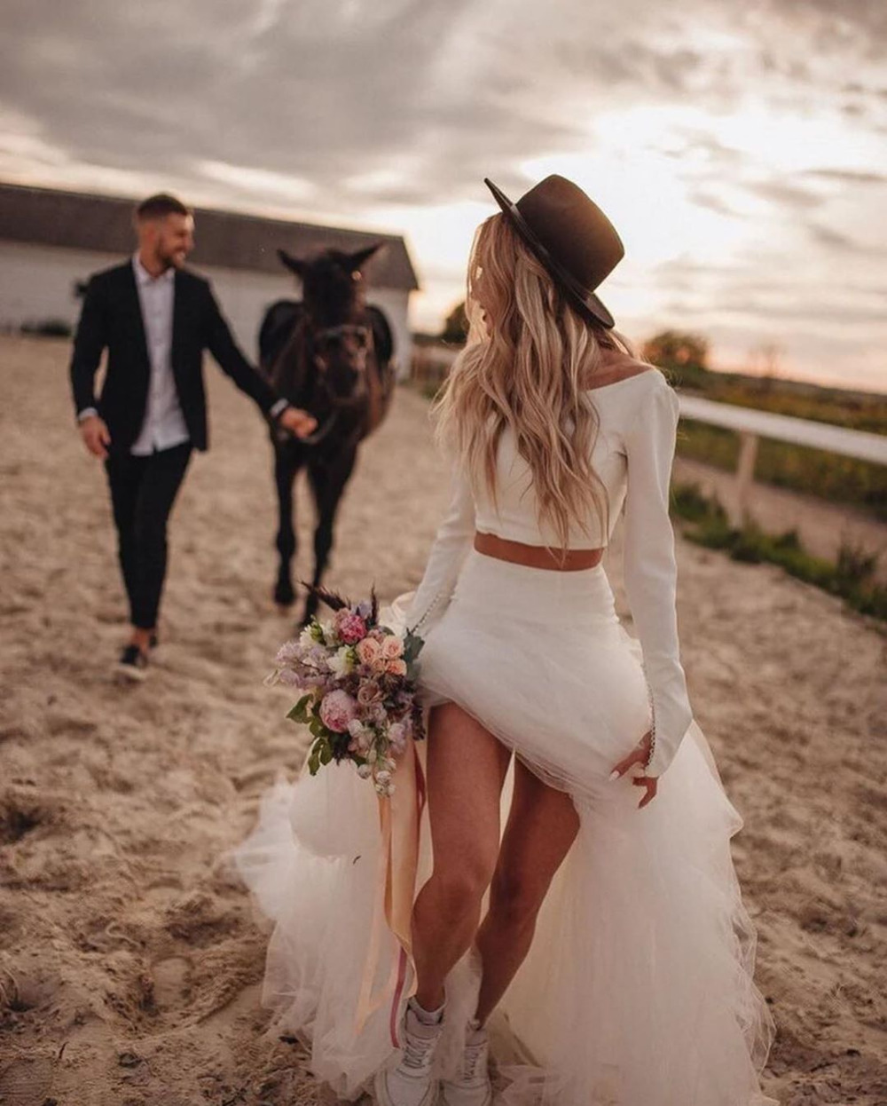 O Gown Vintage Wedding Robe 2021 Beach Bohemian Bridal Sleeve Neck New Long Mariee Dresses Pieces Vintage De Two Wedding Gown