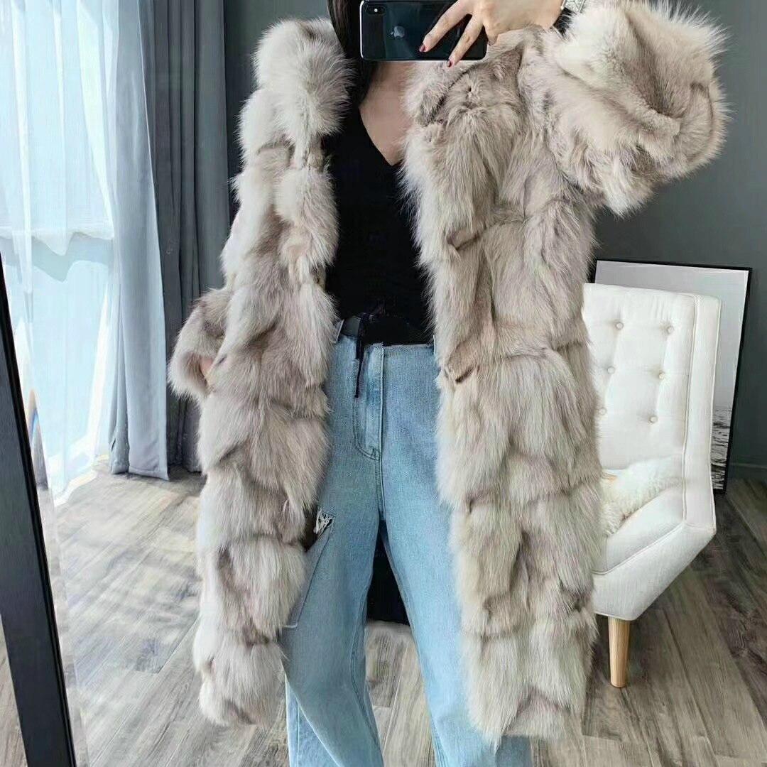 OFTBUY Brand 2019 New Fashion Long Natural Real Fox Fur Coat Winter Jacket Women Outerwear Streetwear Thick Warm Korea Loose