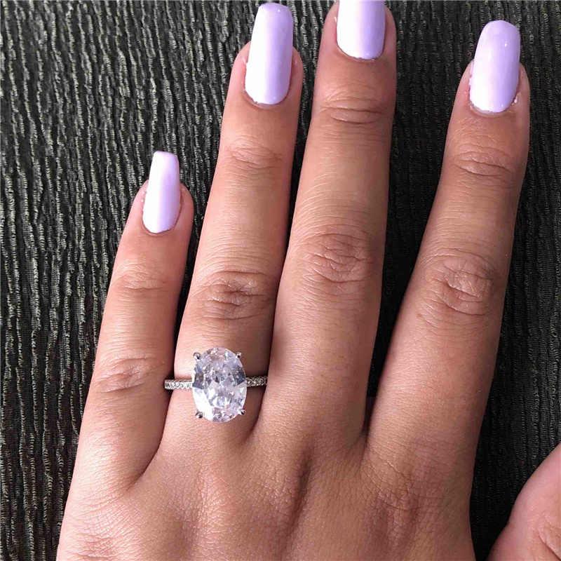 女性ファインリング 925 スターリングシルバーオーバルカット 5ct AAAAA Cz ストーン婚約のためのウェディングバンドリング女性ブライダルパーティージュエリー