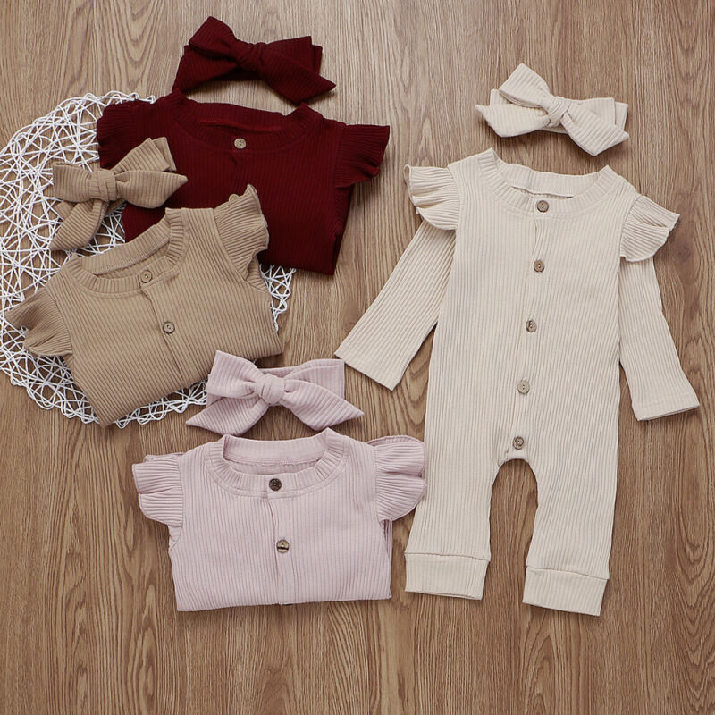 LOOZYKIT Baby Boy Girl Cotton Clothes Knitted Romper Jumpsuit+Headband Autumn Outfits Costume Toddler Girls Winter Clothing Set