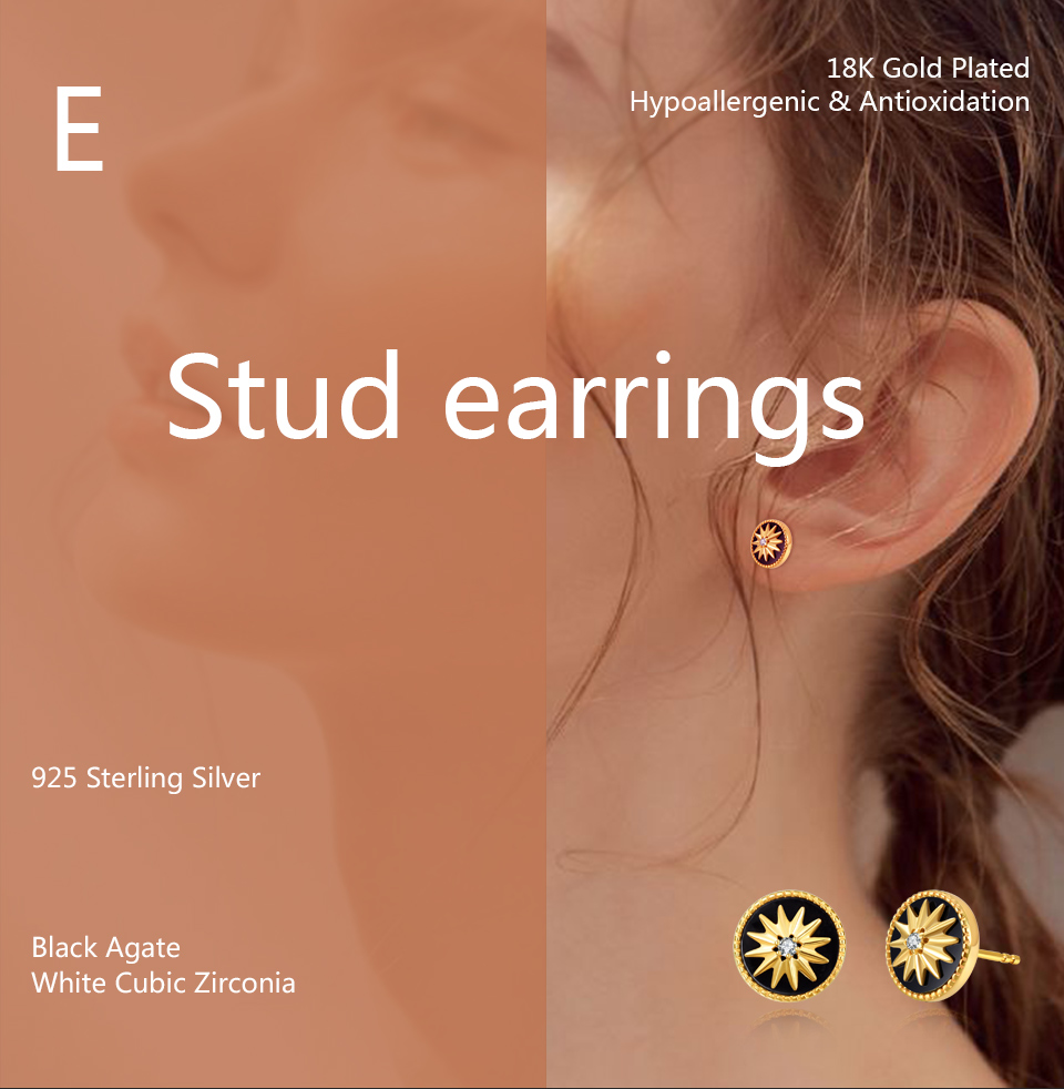Hfee8036bbc0147bf817d7ca59867f93eI 18K Gold Plated 925 Sterling Silver Star Stud Earrings for Women Black Agate  Gemstones Silver 925 Korean Studs Earings 2019