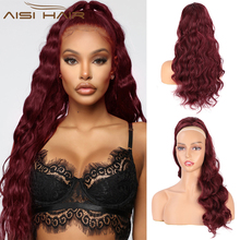 Wavy Ponytail African Hair-Wine Drawstring Aisi-Hair Heat-Resistan Synthetic Red Long
