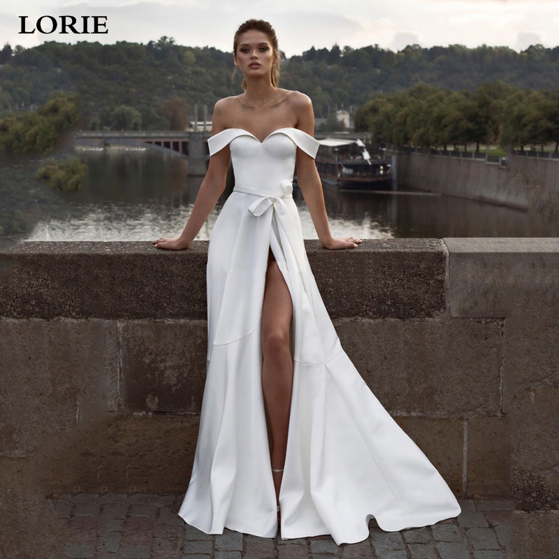 LORIE Princess Wedding Dress A Line Satin High Split Bride Dresses Off The Shoulder Boho Wedding Gown Vestido De Noiva