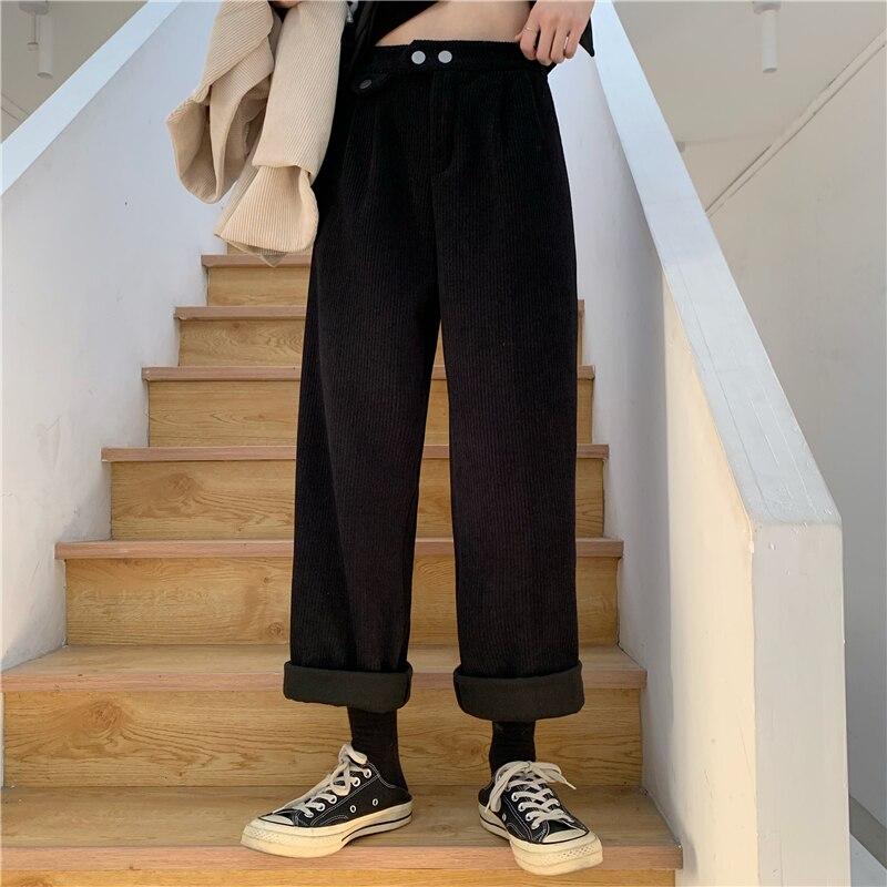 Hfee830771b24474faae5299b53f95daaF - Autumn / Winter Korean Corduroy Loose Solid Pants