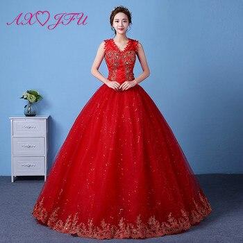 AXJFU luxury red flower wedding Dress princess vintage beading v neck crystal flower turkey bride white lace wedding dress