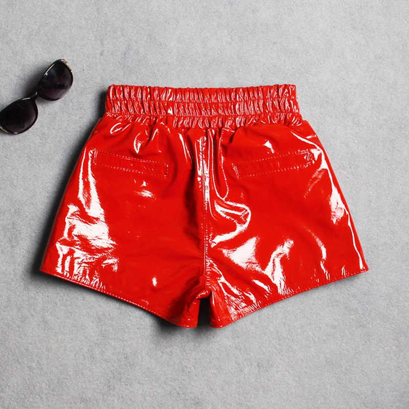 2020 จัดส่งฟรีแฟชั่น sheepskin กางเกงขาสั้นผู้หญิง Street ของแท้หนังกางเกงขาสั้นยี่ห้อ Lady เซ็กซี่กางเกงขาสั้นหนัง,ขาย BIKER