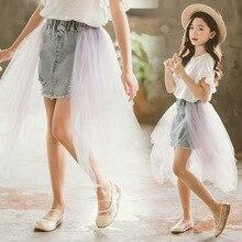 Baby Girls A-line Skirts Kids Mesh Denim Skirt 2020 Summer C
