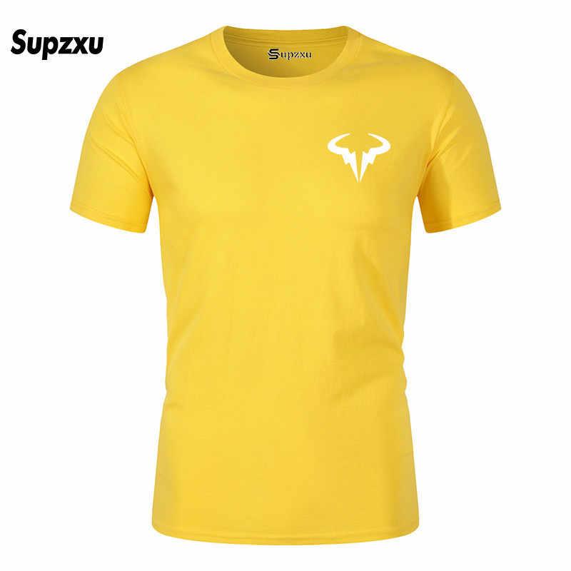 새로운 populaire Rafael Nadal 테니스 speler mannen zwarte katoenen 티셔츠 hoge kwaliteit mannen 티셔츠 탑스 티셔츠