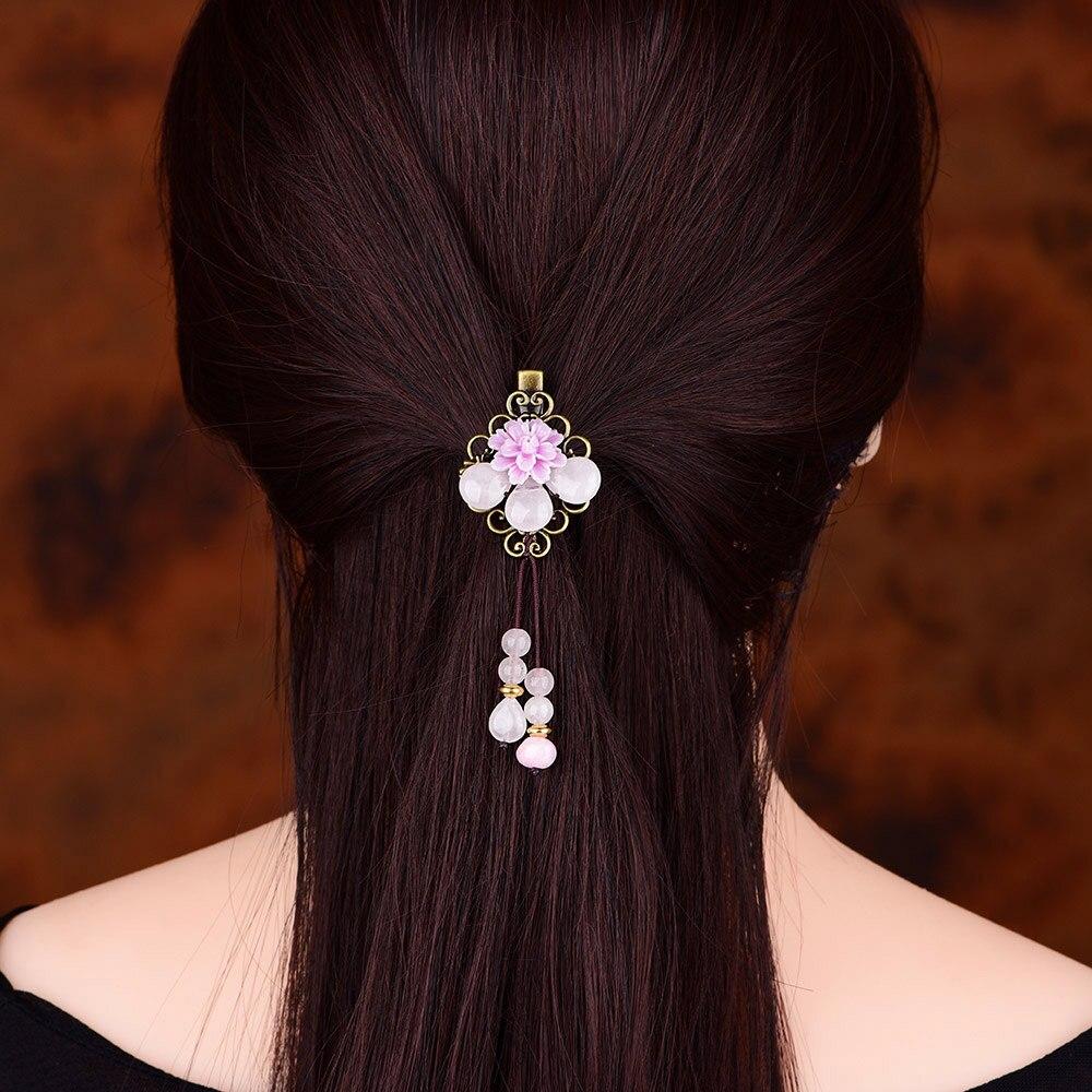 Cristal ethnique épingle à cheveux chapeaux ornements gland Barrettes Vintage fleur cheveux bijoux femmes pince à cheveux tête accessoires