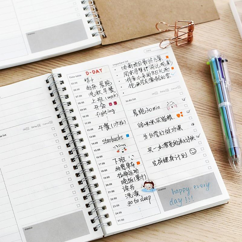 2019 2020 Diary Weekly Agendas Planner Spiral Organizer Libretas A5 Note Books Monthly Kraft Paper Notebooks Schedule Filofax