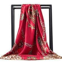 وشاح حريري النساء طباعة الشعر الرقبة أوشحة مربعة مكتب السيدات شال باندانا 90*90 سنتيمتر مسلم الحجاب منديل الخمار foulard