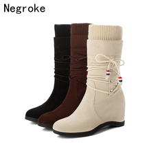 2020 Fashion Women Boots Autumn Winter Shoes Lace-up Mid-Calf Wedges Heels Suede Bota Feminina