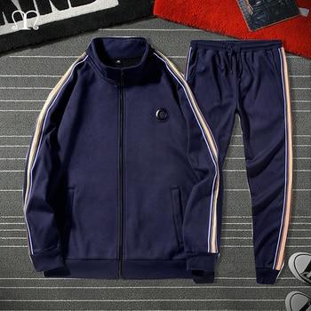 White Black Men Set Fashion 2021 Autumn Spring Brand Casual Sportswear Mens Tracksuit Sports Two Piece Striped Hoodie Pant Male 3