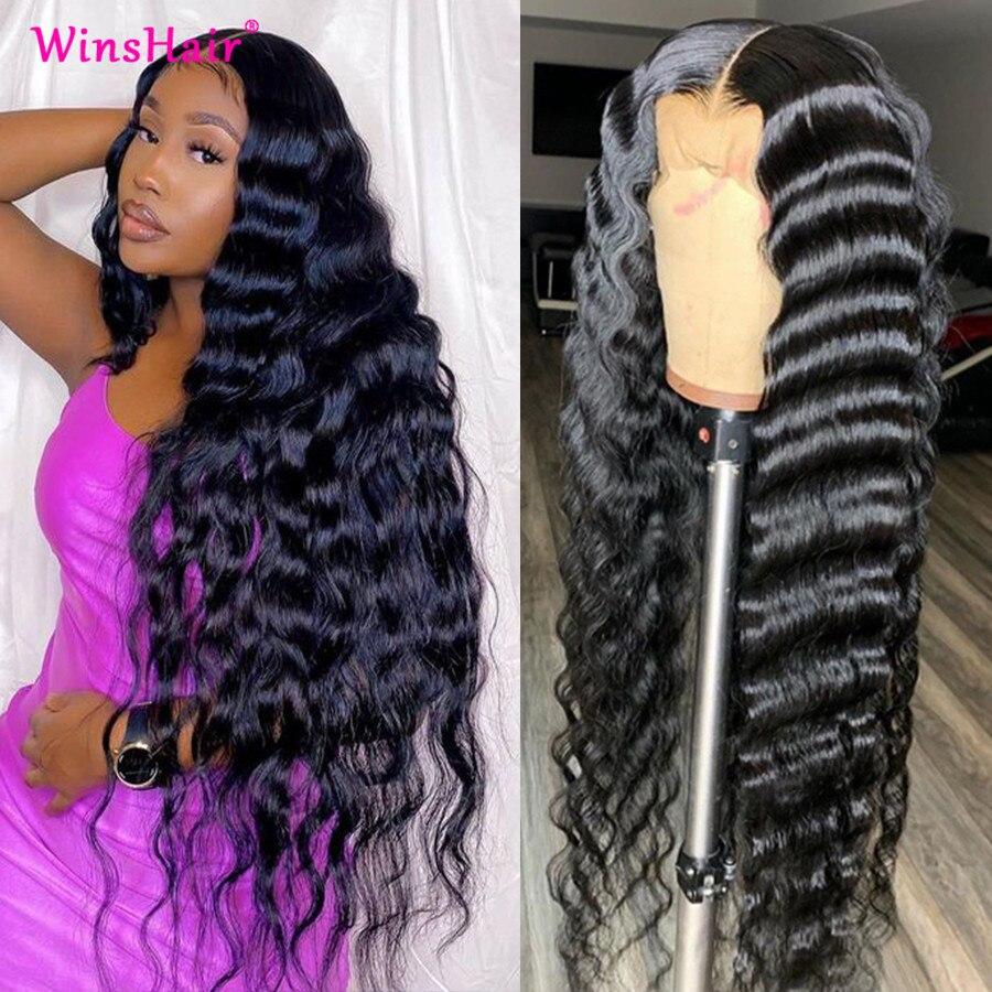 Winshair onda profunda solta peruca dianteira do laço 30 polegada peruca dianteira do laço brasileiro frente do laço perucas de cabelo humano seda 5x5 fechamento do laço peruca