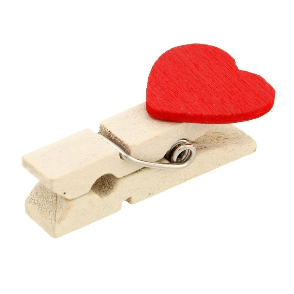 20Pcs  Wooden Red Love Heart Pegs Photo Paper Clips Wedding Decor Craft Valentine's Day Letter Holder