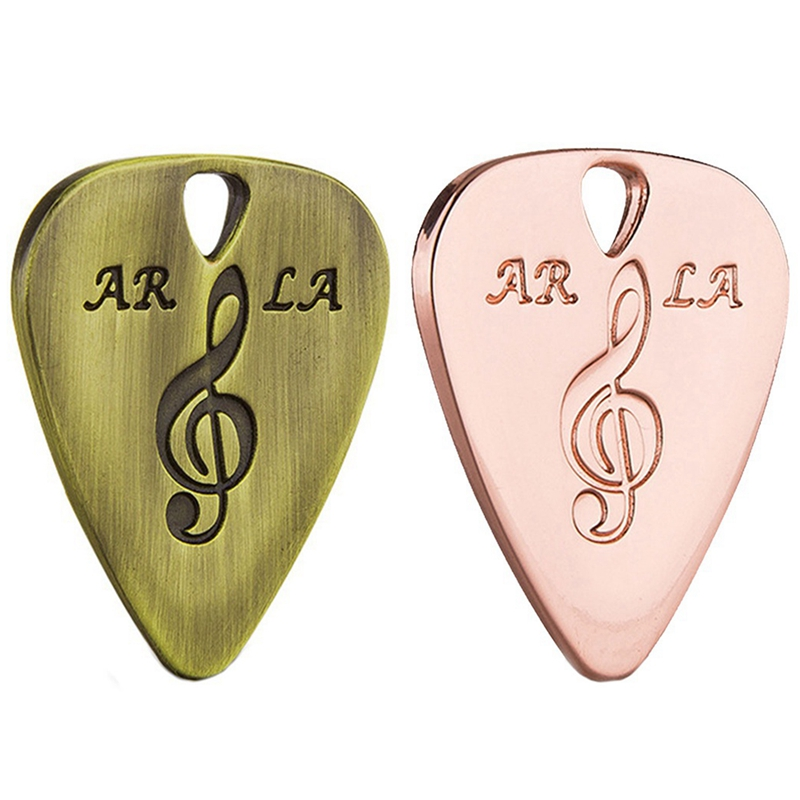 2Pcs Metal Guitar Pick 0.38mm Thin Durable Silver Color Professional Bass Ukelele Guitar Picks Bronze & Rose Gold