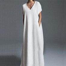 ZANZEA kadınlar Vintage Kaftan kısa kollu Sundress kadınlar v yaka katı gevşek uzun cepler elbise kat uzunluk artı boyutu Vestidos